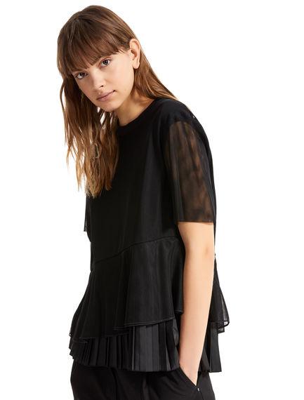 Asymmetric Flounce Tulle T-shirt Sportmax