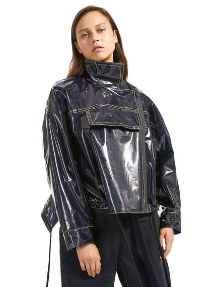 Giacca cropped in PVC lucido