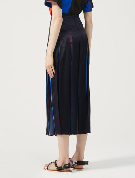 Faded Stripe Silk Satin Skirt Sportmax