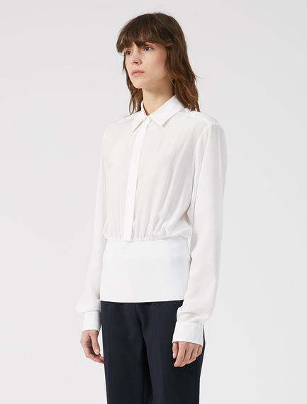 Ribbed Waist Silk Blouse
