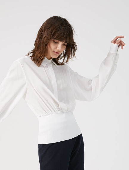 Ribbed Waist Silk Blouse Sportmax