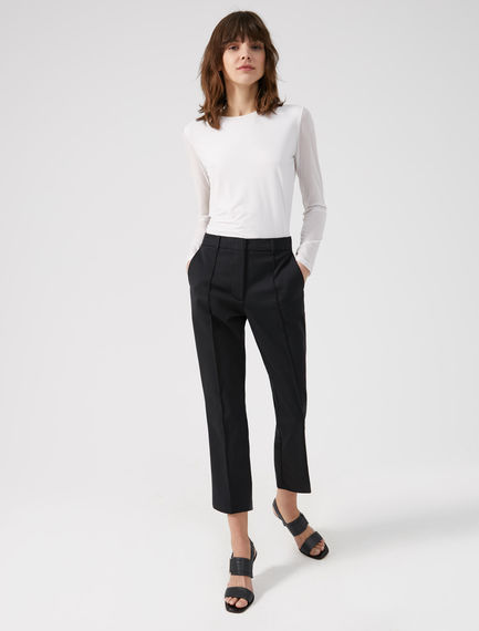 Cotton Canvas Cropped Trousers Sportmax