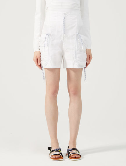 Gathered Cotton Shorts