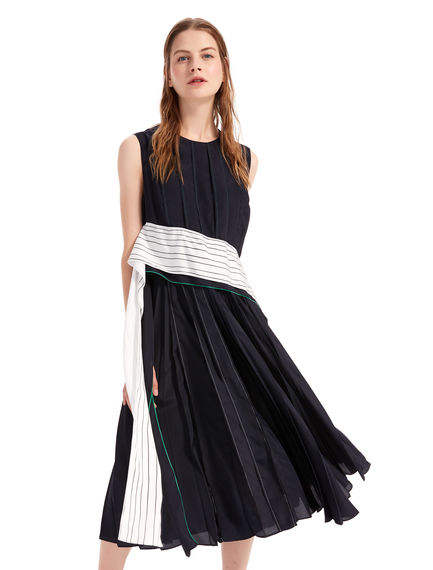Pleated Crêpe Sash Dress