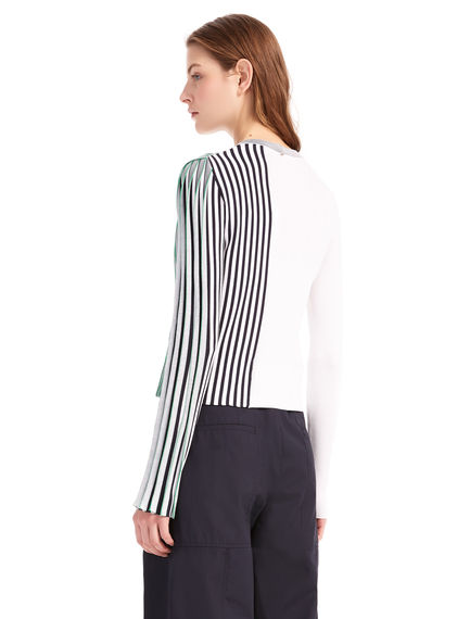 Contrast Rib Knit Viscose Sweater Sportmax