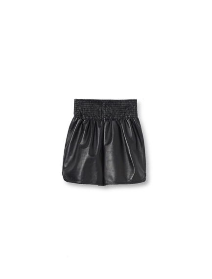Gathered Leather Shorts