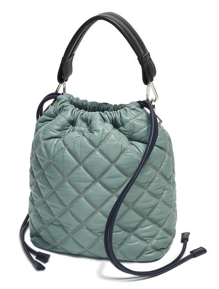 Quilted Leather Drawcord Bag