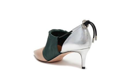Drawstring Leather Stilettos