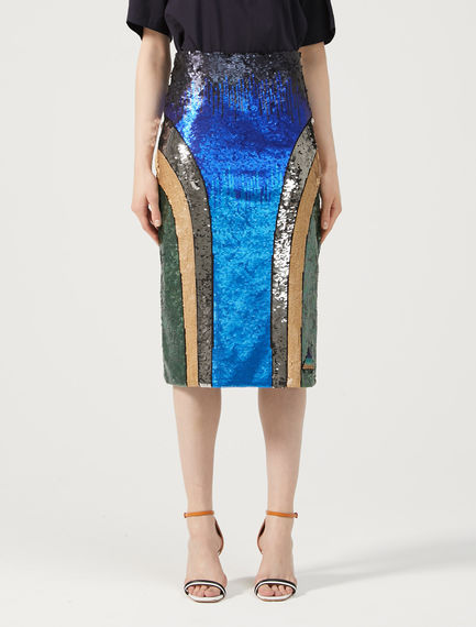 Multi-Tonal Sequinned Skirt Sportmax