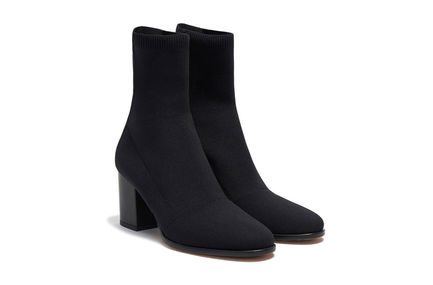 Block-Heeled Sock Boot