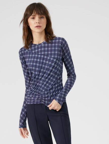Gathered Check T-shirt