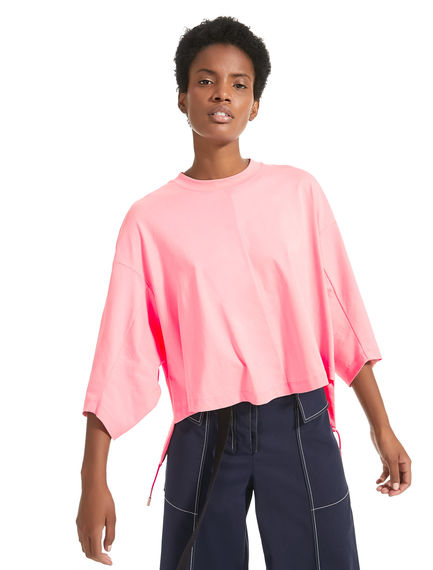 T-shirt cropped con coulisse