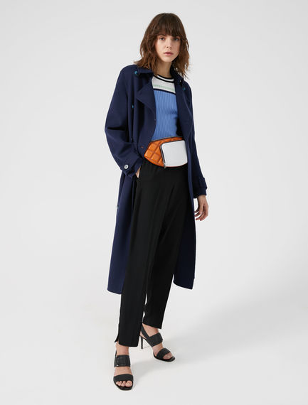 Two-tone Wool Trench Coat
