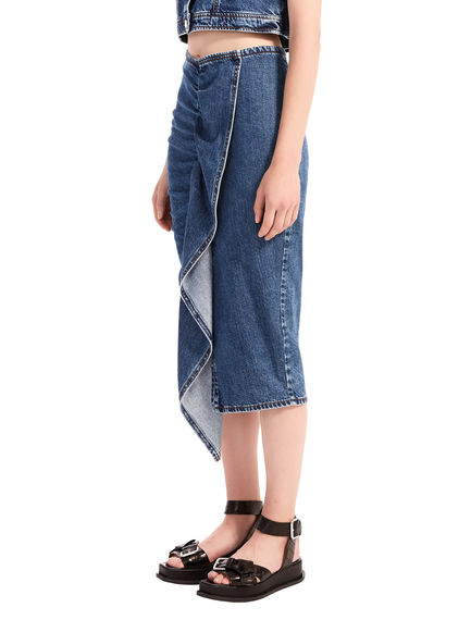 Denim Flounce Midi Skirt