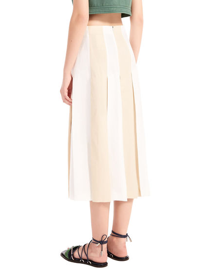 Two-Tone Linen Midi Skirt