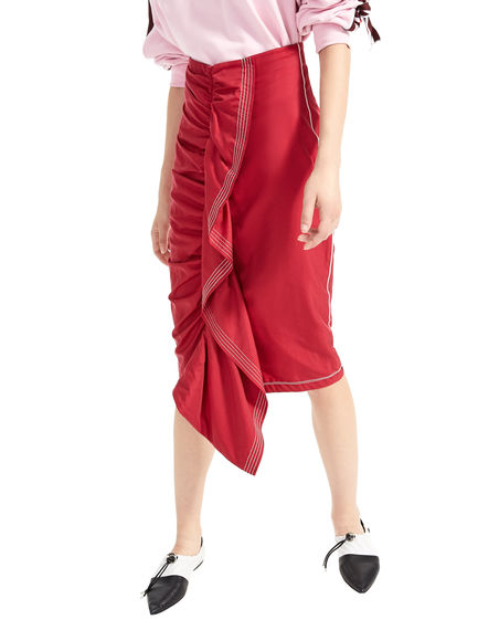 Asymmetric Ruffle Gabardine Skirt Sportmax