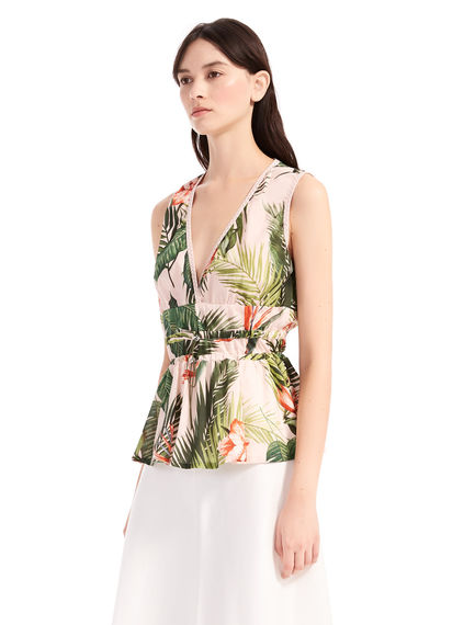Graphic Print Peplum Top