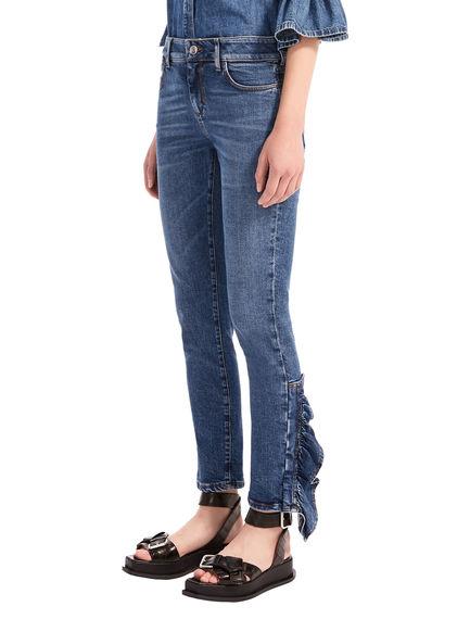Flounce-Finish Skinny Jeans