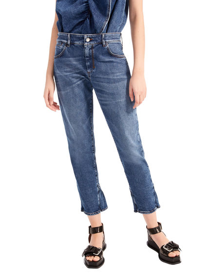 Jeans in denim stretch con rouche Sportmax