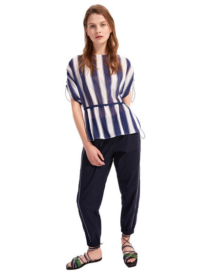 Striped Cotton Crepe Blouse