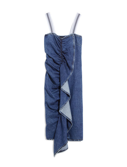 Flounce-detail Denim Dress