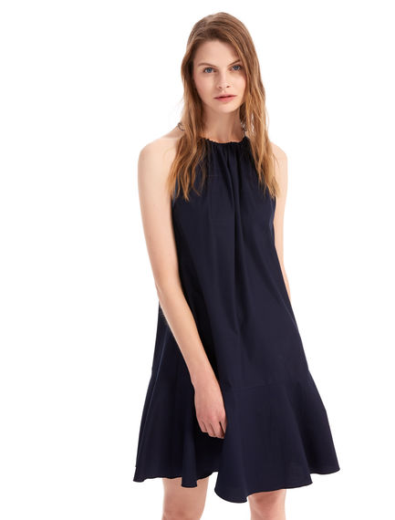 Fluted Cotton Canvas Dress