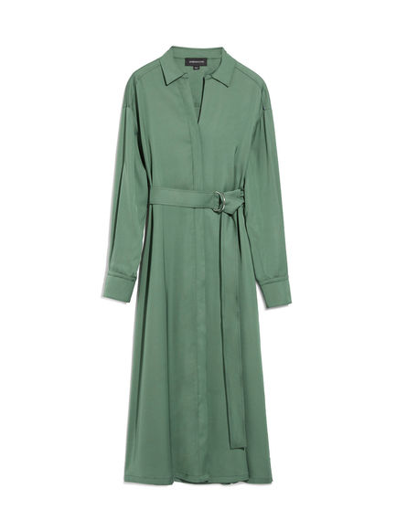 Military-Inspired Satin Shirtdress