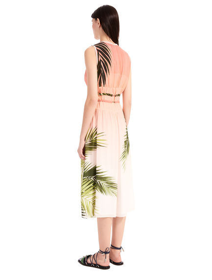 Palm Print Habotai Dress