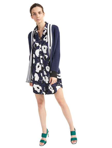 Abstract Flower Shirt Dress