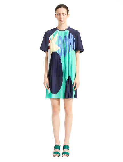 Pleated Bowling-Print Tunic Dress