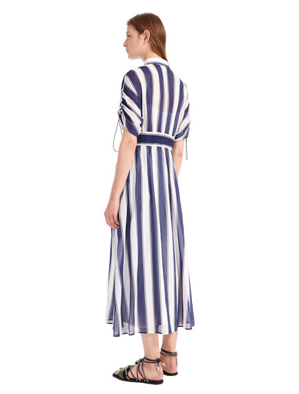Striped Cotton Crepe Shirtdress
