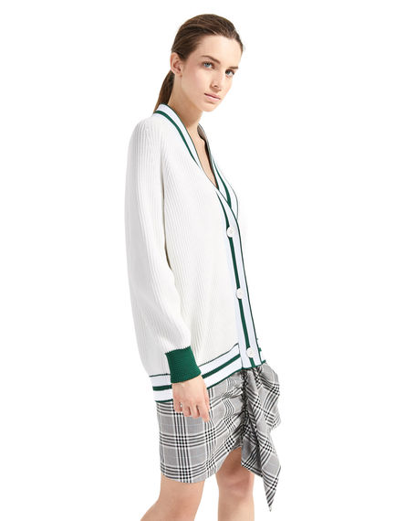 Cardigan a coste in stile Varsity