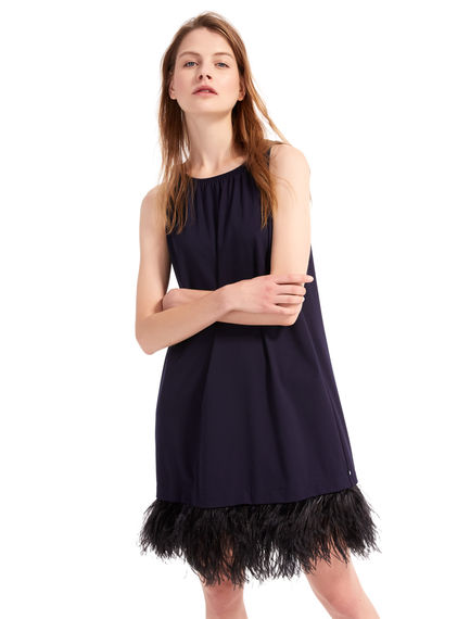 Feather-Trimmed Shift Dress Sportmax