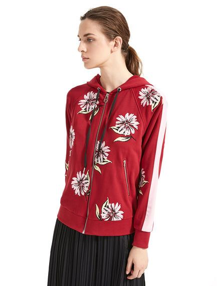 Floral-Embroidered Hooded Sweatshirt