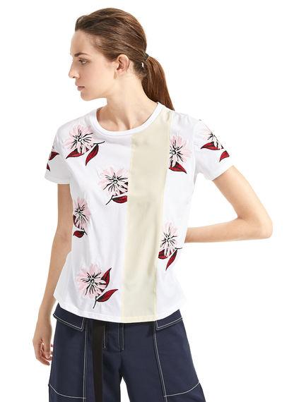 T-shirt con ricamo floreale Sportmax