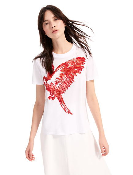 T-shirt con pappagallo in paillette Sportmax
