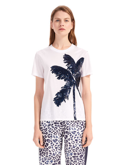 Sequinned Palm Tree T-Shirt