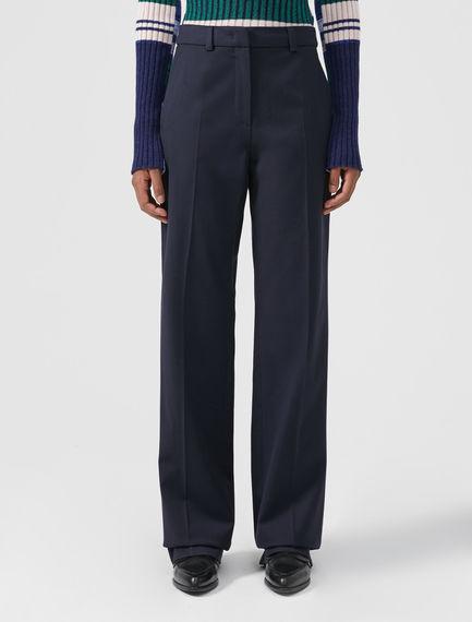 Long Wool Cotton Trousers
