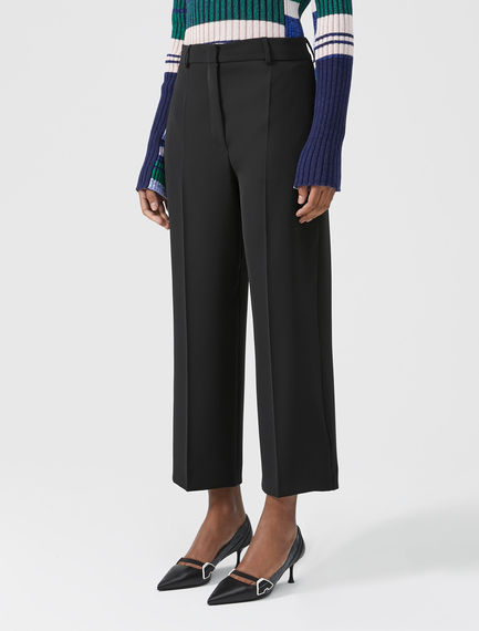 Wide Leg Twill Trousers