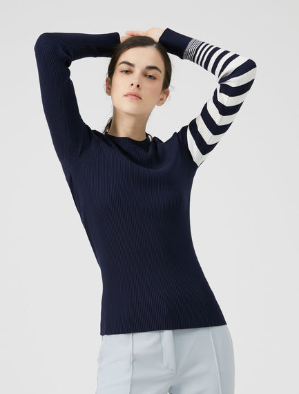 Stripe Sleeve Viscose Sweater