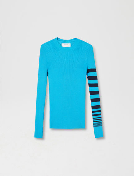 Stripe Sleeve Viscose Sweater