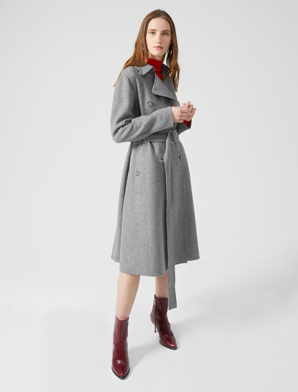 Prince of Wales Check Wool Trench Coat Sportmax