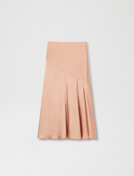 Fluted Satin Midi Skirt
