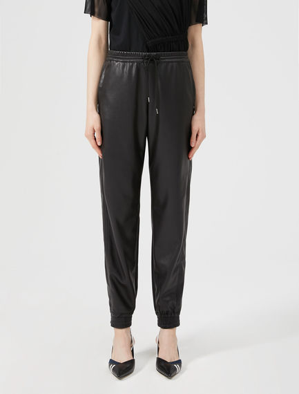 Faux Leather Track Pants