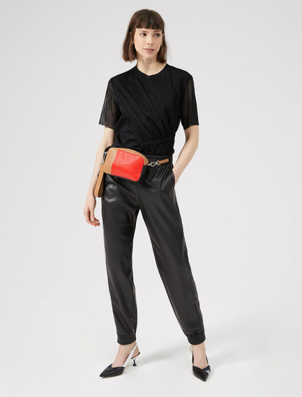 Faux Leather Track Pants Sportmax