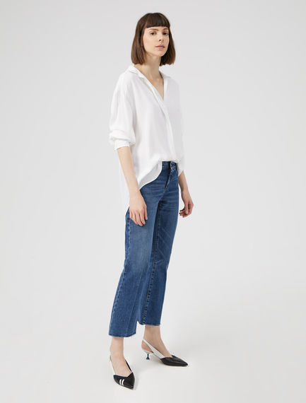 Cropped Flare Inlay Jeans