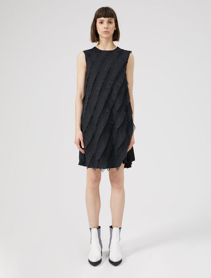 Twisted Silk Tulle Shift Dress