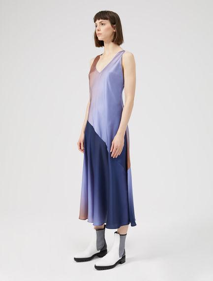 V Back Asymmetric Slip Dress