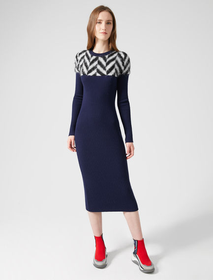 Alpaca Chevron Sweater Dress Sportmax