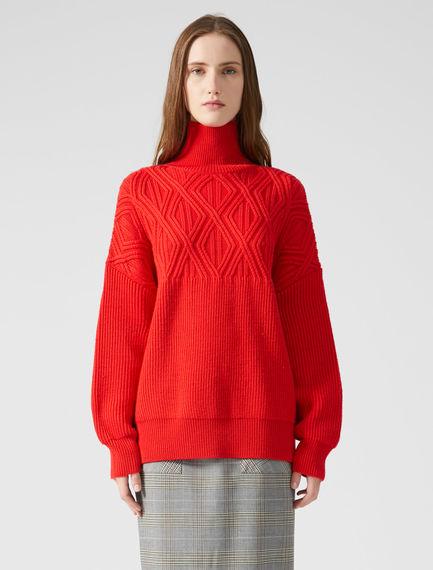 Funnel Neck Jacquard Wool Sweater